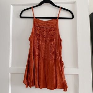 Rust Crochet Bib Side Tassel Tank